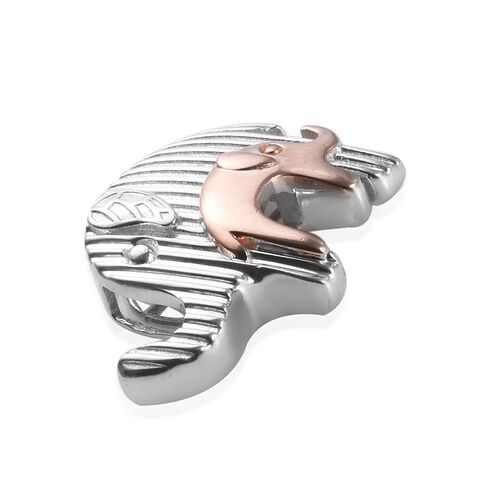 Rose Gold and Platinum Overlay Sterling Silver Mother and Baby Elephant Pendant, Silver wt 5.00 Gms