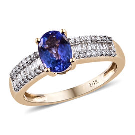 New York Close Out- 14K Yellow Gold Tanzanite (Ovl 7.5x5.5 mm, 1.00 Ct.) and Diamond Ring 1.210 Ct.