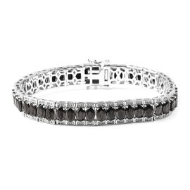 13.25 Ct Shungite Tennis Bracelet in Rhodium Plated Sterling Silver 8 Inch