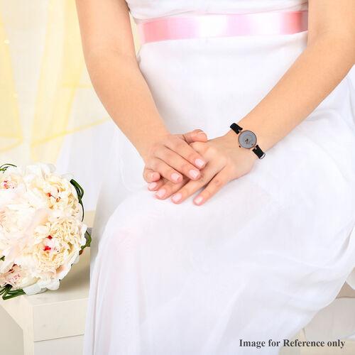 ETERNITY Swarovski Studded Ladies Watch with White Dial and Genuine Leather Black Strap