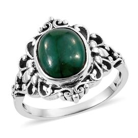 Artisan Crafted Indian Emerald (Cush) Ring in Sterling Silver 5.610 Ct.
