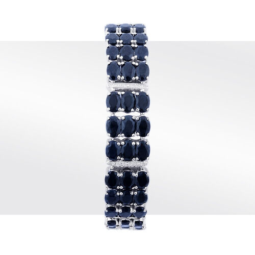 Black Sapphire (76.75 Ct),White Topaz Platinum Overlay Sterling Silver Bracelet (Size 8)  76.855  Ct.