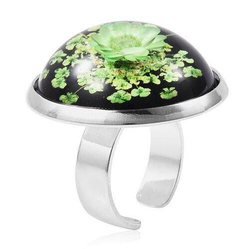 Pressed Green Dried Flower Adjustable Ring in Silver Tone