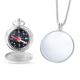 2 Piece Set - Compass and  Magnifier with Chain - Silver Colour