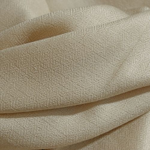 100% Fine Cashmere Wool - Hand Loomed Cream Shawl (Size 200 x 70 Cm)