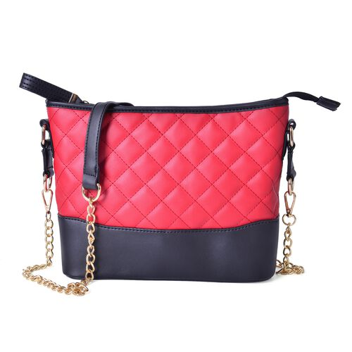Designer Inspired-Black and Red Colour Diamond Pattern Crossbody Bag with Removable Chain Strap (Size 27.5X22X8 Cm)