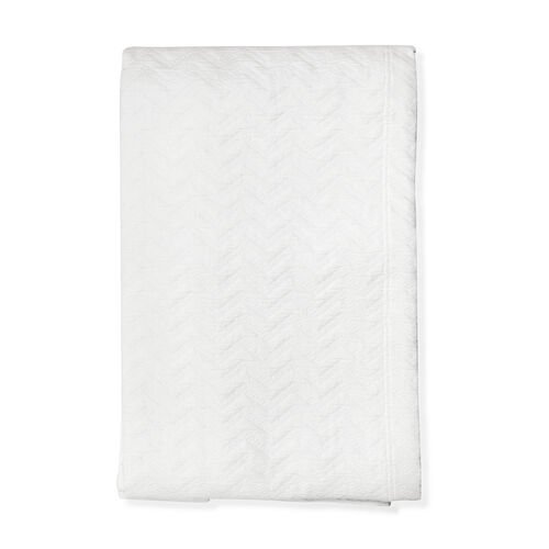 Woven in Portugal Pique Bedspread Waves White 180x260 cm 80% Egyptian Cotton 20% Polyester for stren