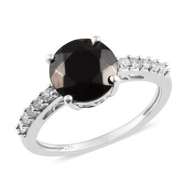 Elite Shungite (Rnd), Natural Cambodian Zircon Ring in Platinum Overlay Sterling Silver 1.42 Ct.