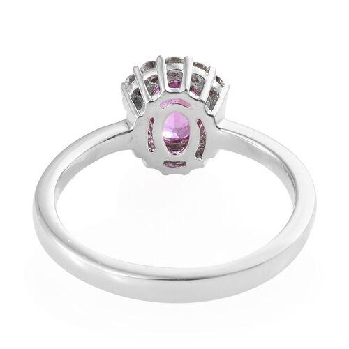 ILIANA 18K White Gold AAA Pink Sapphire (Ovl), Diamond (SI/G-H) Ring 1.200 Ct.