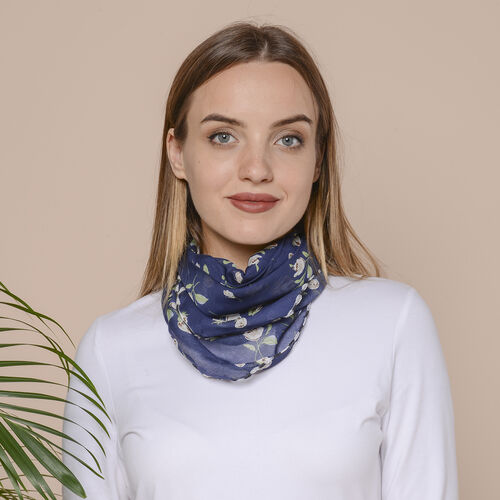 2 in 1 Flower Pattern Chiffon Soft Feel Scarf and Protective Face Covering (Size 45x45 Cm) - Navy & White