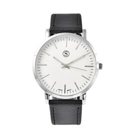 Personalised Engravable STRADA Japanese Movement Watch with Silver Tone and Black Strap