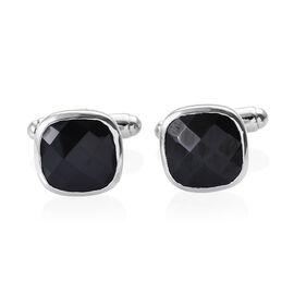 Boi Ploi Black Spinel (Cush) Cufflink in Platinum Overlay Sterling Silver 8.000 Ct.