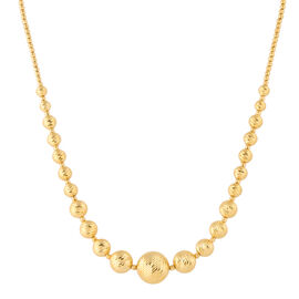Italian Made 9K Yellow Gold Diamond Cut Graduated Necklace (Size 17 with 2 inch extender), Gold wt. 13.30 Gms.
