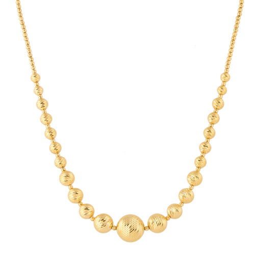 Italian Made 9K Yellow Gold Diamond Cut Graduated Necklace (Size 17 with 2 inch extender), Gold wt.