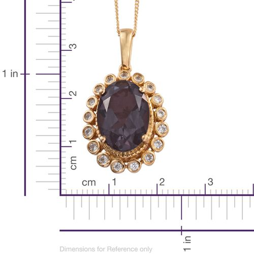 Alexandria Quartz (Ovl 5.90 Ct), Natural Cambodian Zircon Pendant with Chain in 14K Gold Overlay Sterling Silver 6.250 Ct.