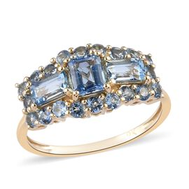 9K Yellow Gold Santamaria Aquamarine Ring 1.54 Ct.