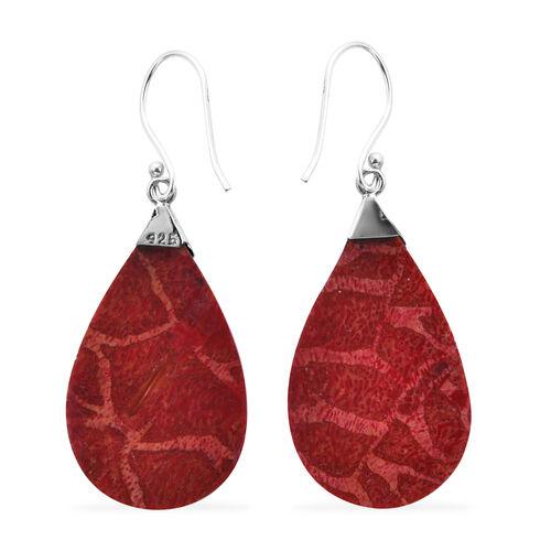 Royal Bali Collection - Sponge Coral Drop Hook Earrings in Sterling Silver