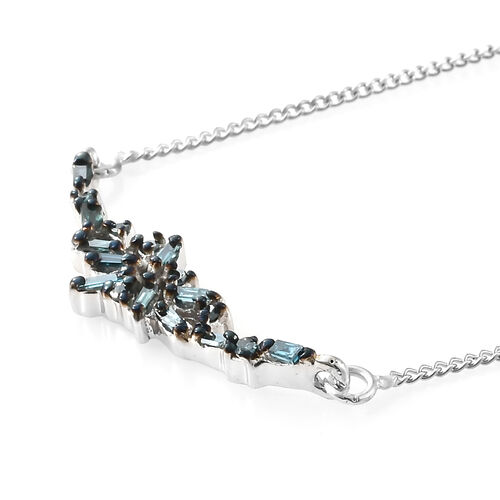 Blue Diamond (Bgt) Necklace with Chain (Size 18 plus 1.5 inch Extender) in Platinum Overlay Sterling Silver 0.200 Ct