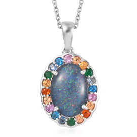 Limited Edition- Australian Boulder Opal (Ovl 14x10mm) and Multi Gemstone Pendant With Chain (Size 2