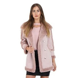 Faux Fur Suede Shearling Style Dusty Pink Coat (Size XL)