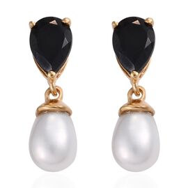 Fresh Water Pearl (5.80 Ct),Thai Black Spinel 14K Gold Overlay Sterling Silver Earring  7.500  Ct.