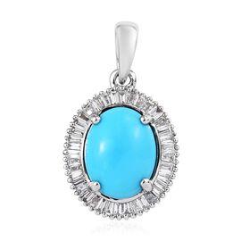RHAPSODY 950 Platinum AAAA Arizona Sleeping Beauty Turquoise (Ovl) Diamond (VS/E-F) Pendant 1.850 Ct