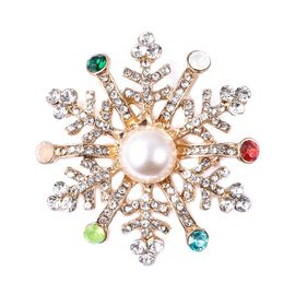 Silmulated Pearl (Rnd), White Austrain Crystal Snowflake Brooch in Gold Plated