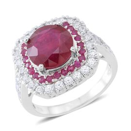 African Ruby (Rnd 5.25 Ct), Burmese Ruby and White Zircon Ring in Rhodium Plated Sterling Silver 7.3