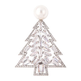 Simulated Diamond and White Shell Pearl Christmas Tree Brooch in Silver Tone