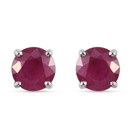 RHAPSODY 950 Platinum AAAA Burmese Ruby Stud Earrings (with Screw Back) 2.20 Ct.
