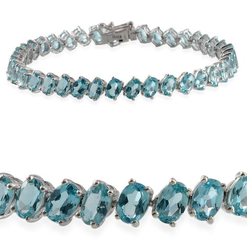 AA Paraibe Apatite (Ovl) Bracelet in Platinum Overlay Sterling Silver (Size 7.5) 17.000 Ct.