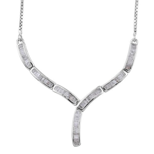 Diamond (Bgt) Adjustable Necklace (Size 18) in Platinum Overlay Sterling Silver 0.750 Ct. Silver wt.