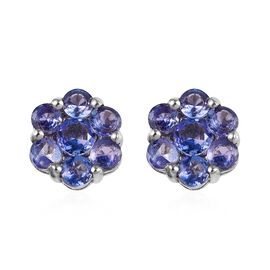 Tanzanite Floral Stud Earrings in Platinum Plated Sterling Silver 1.75 Ct