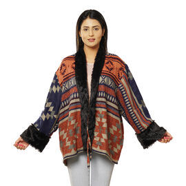 South western Pattern Cozy Jacquard Jacket with Faux Fur Trim and Long Sleeve  - Coral and Multi