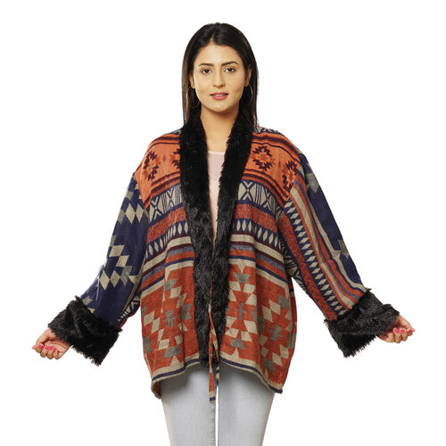 Southwestern Pattern Cozy Jacquard Jacket with Faux Fur Trim and Long Sleeve (Size M/L, 10-16) - Coral and Multi