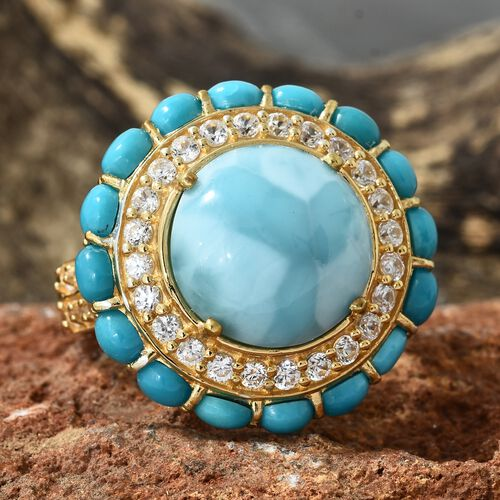 Larimar (Rnd 9.75 Ct), Arizona Sleeping Beauty Turquoise and Natural Cambodian Zircon Ring in 14K Gold Overlay Sterling Silver 14.750 Ct. Silver wt 7.00 Gms.