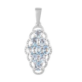 Aquamarine Pendant in Platinum Overlay Sterling Silver 1.35 Ct.