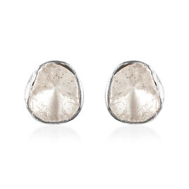 Artisan Crafted Polki Diamond Stud Earrings (with Push Back) in Platinum Overlay Sterling Silver 0.5