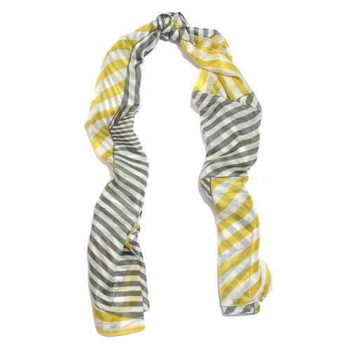 100% Mulberry Silk Grey, Yellow and White Colour Stripes Hand Screen Printed Scarf (Size 180X100 Cm)