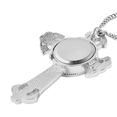STRADA Japanese Movement Crystal Studded Hollow Cross Locket Watch with Chain (Size 29 with 3 inch Extender)