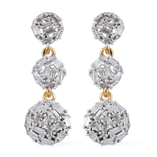 Diamond (Bgt) Earrings (with Push Back) in 14K Gold Overlay Sterling Silver 0.750 Ct.