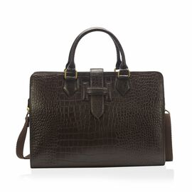 PREMIER COLLECTION 100% Genuine Leather Croc Embossed Dark Brown Colour Laptop Bag (Size 39.4x28x7.7