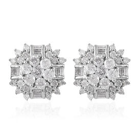9K White Gold SGL CERTIFIED Diamond (Rnd and Bgt) (I3 / G-H) Stud Earrings (with Push Back) 1.000 Ct