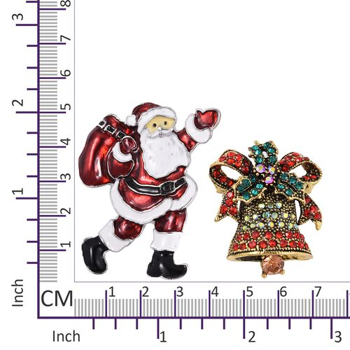 Set of 2 - Multi Colour Austrian Crystal (Rnd) Santa Claus with the bag of Gifts and Church Bell Brooch in Gold Tone