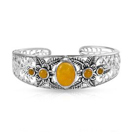 11.50 Ct Burmese Yellow Jade Cuff Bangle in Silver 33.70 Grams 7.5 Inch