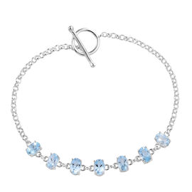 Sky Blue Topaz (Ovl) Bracelet (Size 7.5 Adjustable) in Sterling Silver   3.75 Ct, Silver wt 4.70 Gms