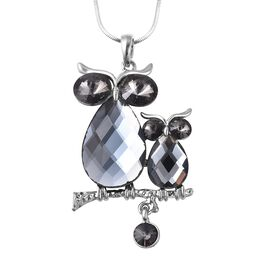 Simulated Grey Spinel and Grey Austrian Crystal Owl Pendant With Chain in Silver Tone