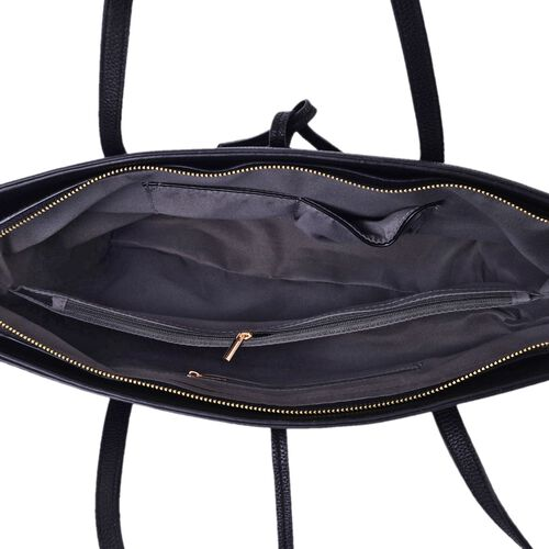 Classic Black Colour City Carryall Weekend Tote Bag (Size 42x35x28x13 Cm)