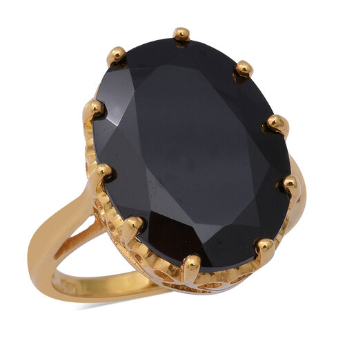 17.93 Ct AAA Boi Ploi Black Spinel Solitaire Ring in Gold Plated Sterling Silver