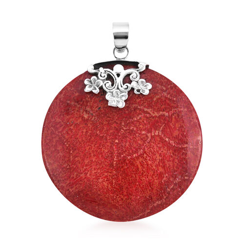 Royal Bali Collection Sponge Coral Round Pendant in Sterling Silver